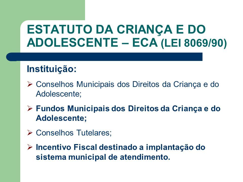 ESTATUTO DA CRIANÇA E DO ADOLESCENTE – ECA (LEI 8069/90) Instituição: Conselhos Municipais dos Direitos da Criança e do Adolescente; Fundos Municipais