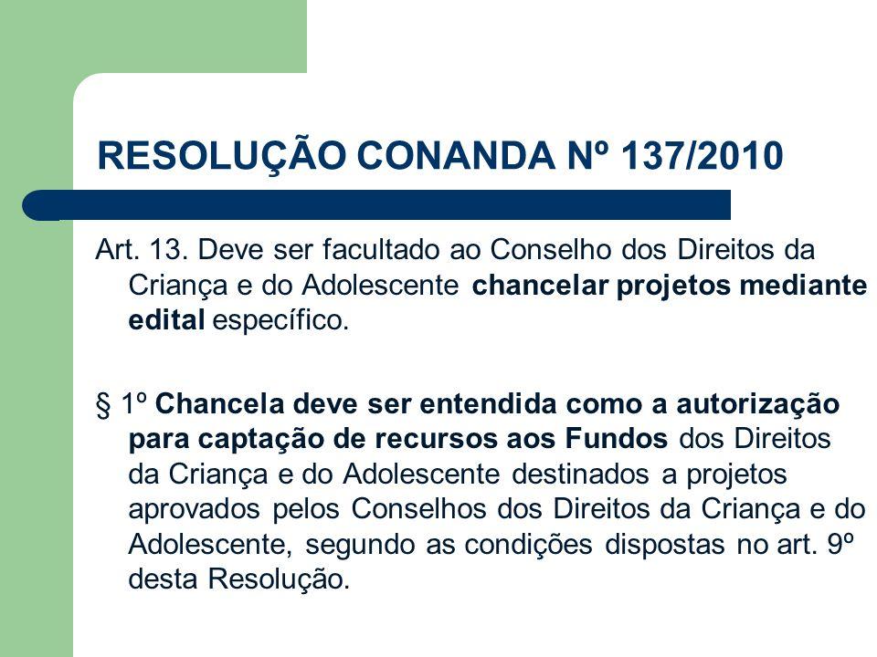 RESOLUÇÃO CONANDA Nº 137/2010 Art. 13. Deve ser facultado ao Conselho dos Direitos da Criança e do Adolescente chancelar projetos mediante edital espe