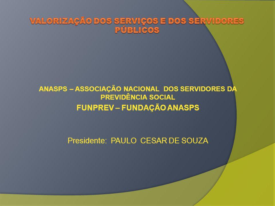 ANASPS – ASSOCIAÇÃO NACIONAL DOS SERVIDORES DA PREVIDÊNCIA SOCIAL FUNPREV – FUNDAÇÃO ANASPS Presidente: PAULO CESAR DE SOUZA