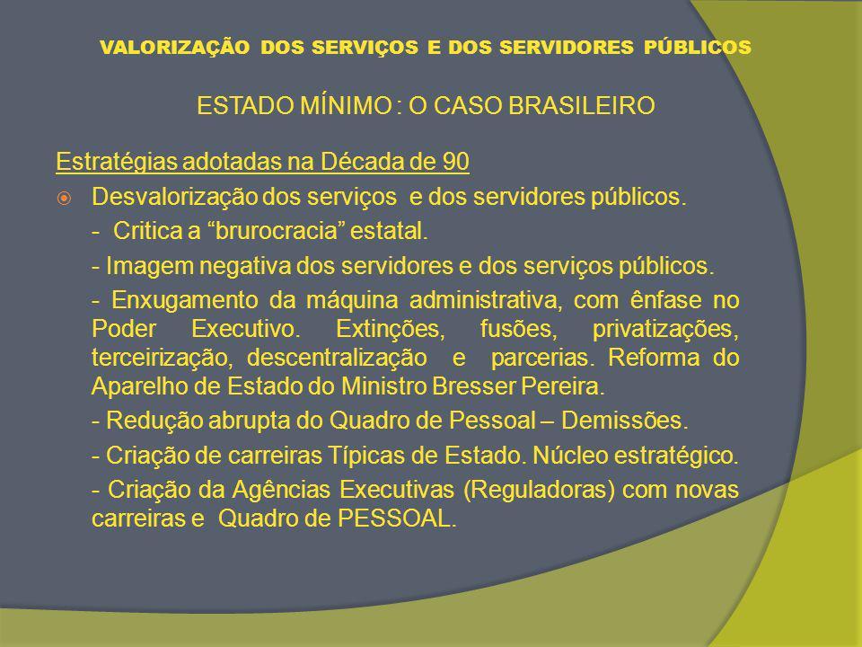 VALORIZAÇÃO DOS SERVIÇOS E DOS SERVIDORES PÚBLICOS ESTADO MÍNIMO : O CASO BRASILEIRO REFORMA DOAPARELHO DE ESTADO BRASILEIRO. Estado Mínimo x Democrac