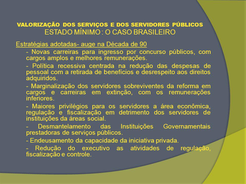 VALORIZAÇÃO DOS SERVIÇOS E DOS SERVIDORES PÚBLICOS ESTADO MÍNIMO : O CASO BRASILEIRO Estratégias adotadas na Década de 90 Desvalorização dos serviços