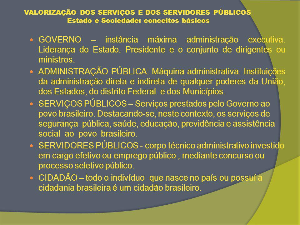 VALORIZAÇÃO DOS SERVIÇOS E DOS SERVIDORES PÚBLICOS Estado e Sociedade: conceitos básicos GOVERNO – instância máxima administração executiva.