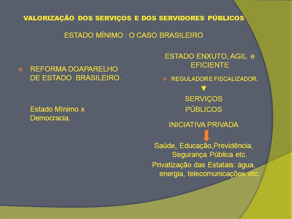 VALORIZAÇÃO DOS SERVIÇOS E DOS SERVIDORES PÚBLICOS ESTADO MÍNIMO : O CASO BRASILEIRO REFORMA DOAPARELHO DE ESTADO BRASILEIRO.