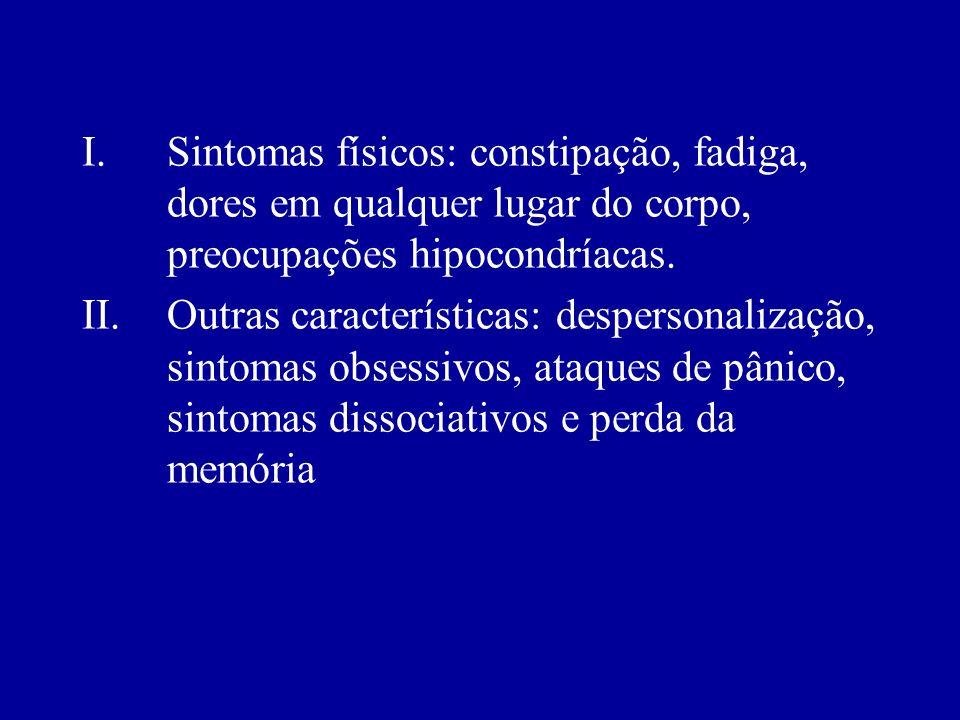 Sintomas biológicos (melancólicos, somáticos ou vegetativos): alteração do sono, alteração diurna do humor, perda do apetite, perda do peso, constipaç