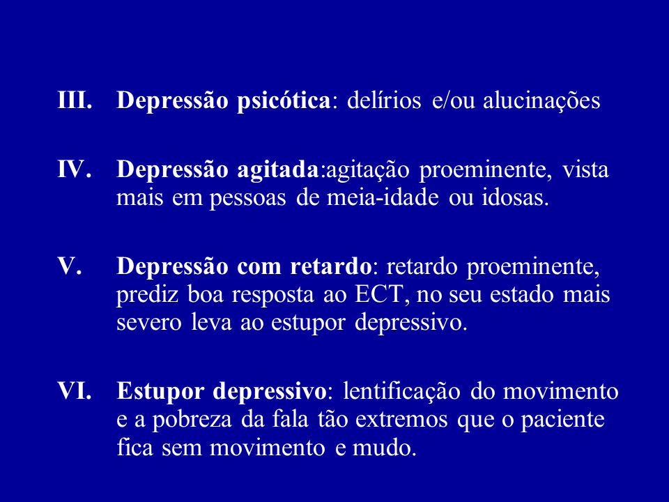 I.Sintomas físicos: constipação, fadiga, dores em qualquer lugar do corpo, preocupações hipocondríacas. II.Outras características: despersonalização,