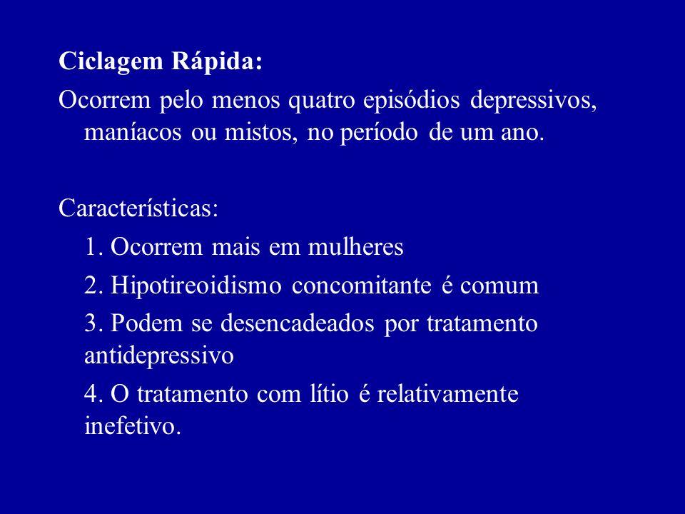 Estados Mistos: 1. Sintomas depressivos e maníacos às vezes ocorrem na mesma hora. Os pacientes que estão muito ativos ou falantes podem estar vivenci
