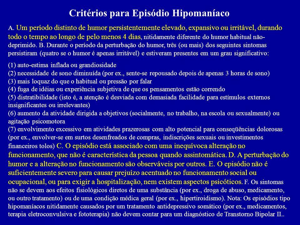 C. Os sintomas não satisfazem os critérios para Episódio Misto D. A perturbação do humor é suficientemente severa para causar prejuízo acentuado no fu