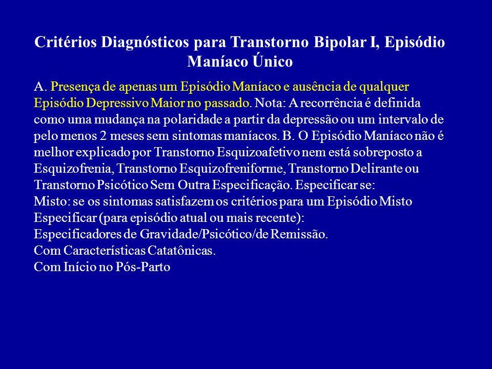 E. Jamais houve um Episódio Maníaco, um Episódio Misto ou um Episódio Hipomaníaco e jamais foram satisfeitos os critérios para Transtorno Ciclotímico.