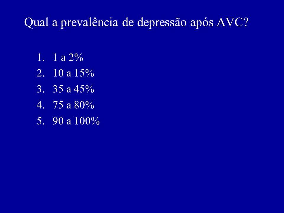 Qual é a duração do período de maior risco para o desenvolvimento de transtorno depressivo após um AVC? A. Duas semanas B. Dois meses C. Seis meses D.