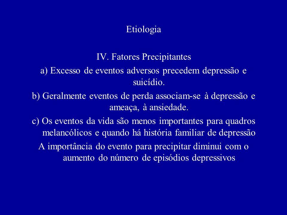 Etiologia III. Ambiente precoce a) Privação dos pais: conflito familiar intenso e a falta de cuidados adequados (mesmo quando não há separação dos pai