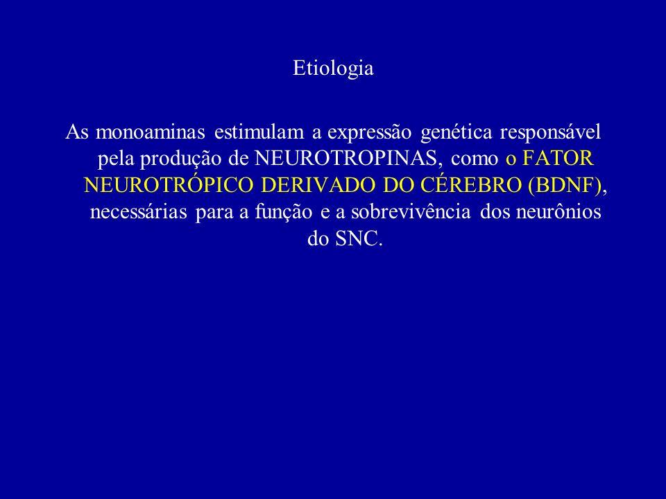 Etiologia VI. Neurobiologia a) Hipótese monaminérgica para depressão: mudanças na concentração de monoaminas (5-HT, noradrenalina e dopamina) b)Hipóte