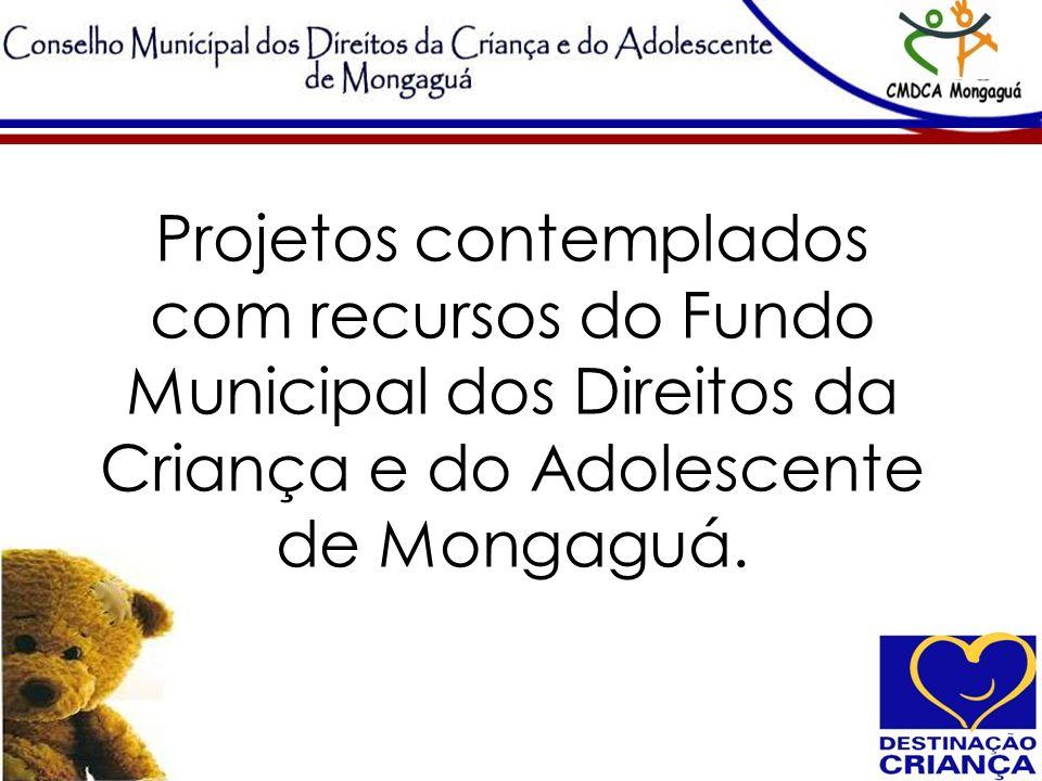 Projetos contemplados com recursos do Fundo Municipal dos Direitos da Criança e do Adolescente de Mongaguá.