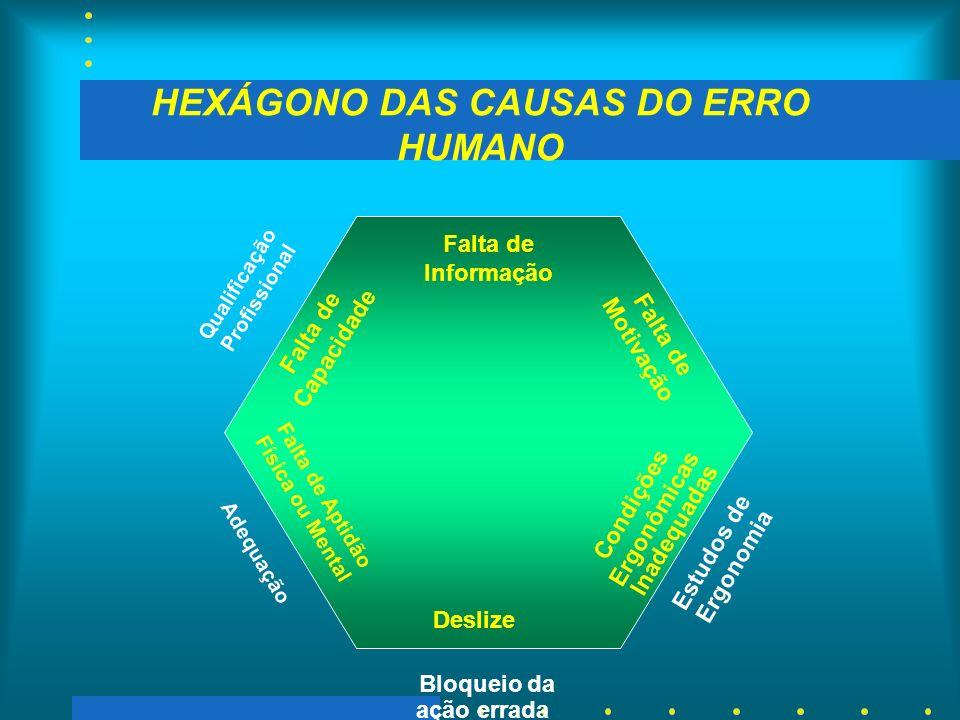 HEXÁGONO DAS CAUSAS DO ERRO HUMANO Deslize Falta de Informação Condições Ergonômicas Inadequadas Falta de Motivação Falta de Aptidão Física ou Mental