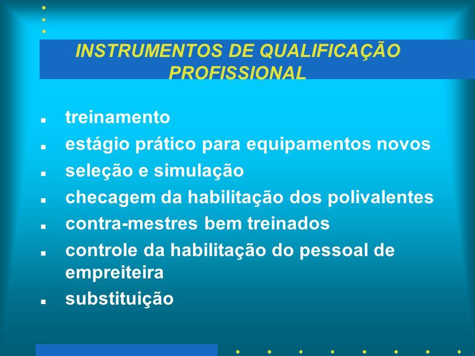 INSTRUMENTOS DE QUALIFICAÇÃO PROFISSIONAL n treinamento n estágio prático para equipamentos novos n seleção e simulação n checagem da habilitação dos
