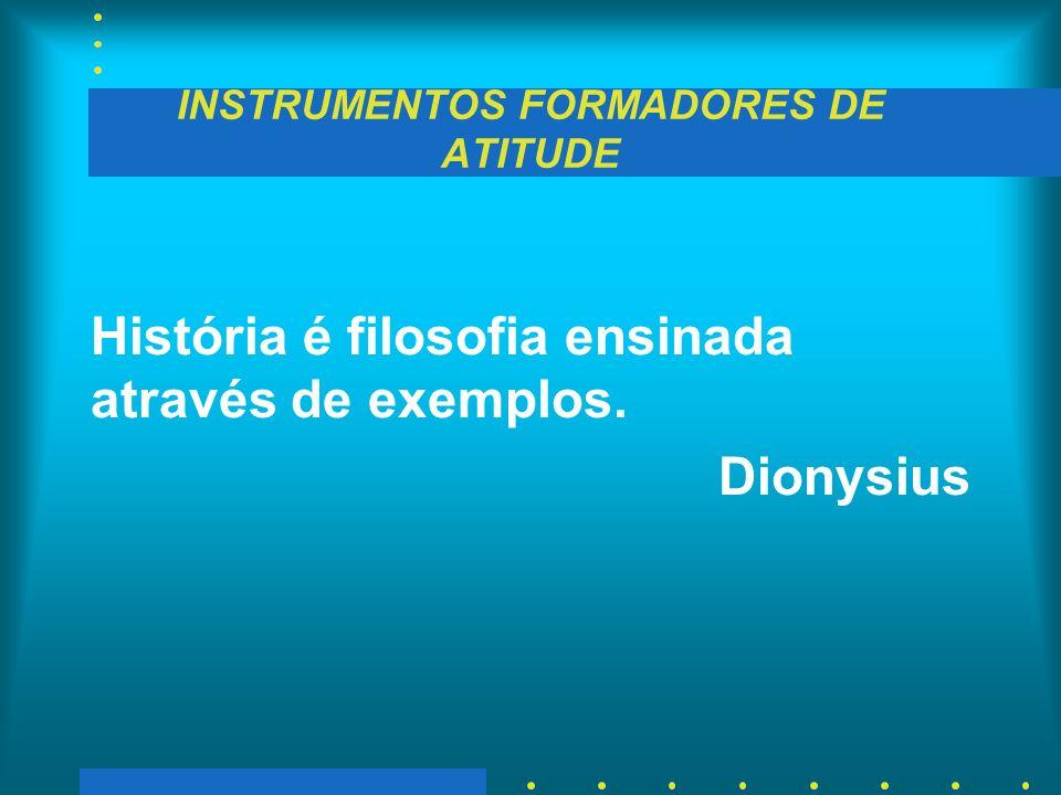 INSTRUMENTOS FORMADORES DE ATITUDE História é filosofia ensinada através de exemplos. Dionysius