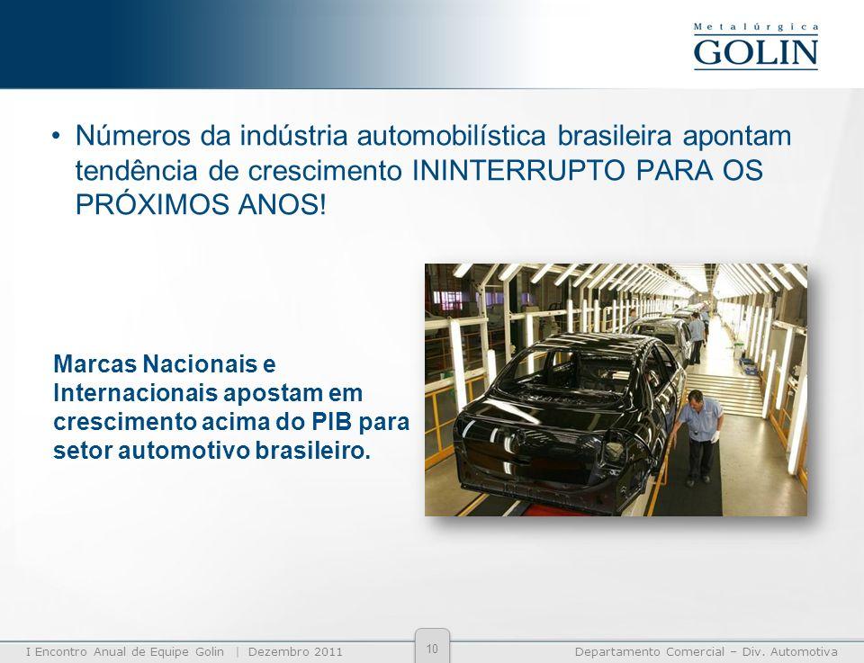 I Encontro Anual de Equipe Golin | Dezembro 2011Departamento Comercial – Div. Automotiva Números da indústria automobilística brasileira apontam tendê