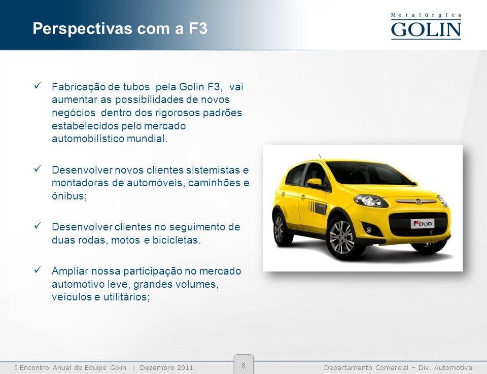 I Encontro Anual de Equipe Golin | Dezembro 2011Departamento Comercial – Div. Automotiva Fabricação de tubos pela Golin F3, vai aumentar as possibilid