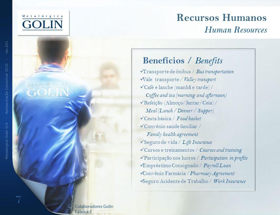 7 Recursos Humanos Human Resources Benefícios / Benefits Transporte de ônibus / Bus transportation Vale transporte / Valley transport Café e lanche (m
