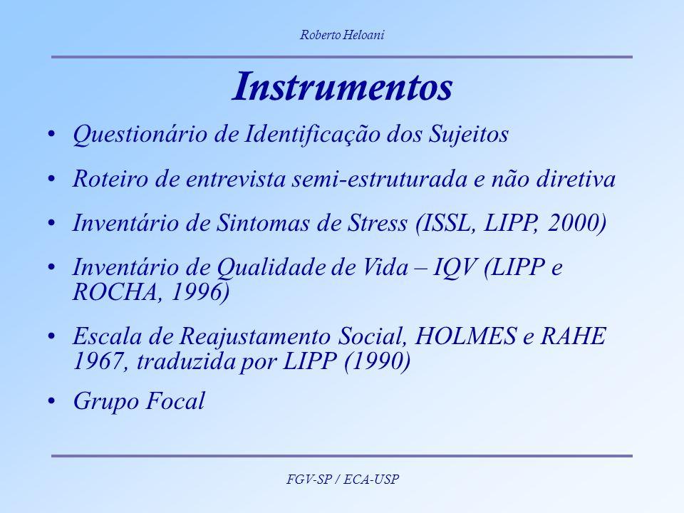 Roberto Heloani FGV-SP / ECA-USP Instrumentos Questionário de Identificação dos Sujeitos Roteiro de entrevista semi-estruturada e não diretiva Inventá