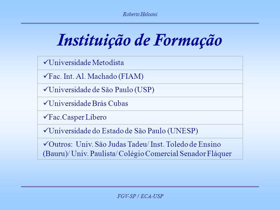 Roberto Heloani FGV-SP / ECA-USP Instituição de Formação Universidade Metodista Fac. Int. Al. Machado (FIAM) Universidade de São Paulo (USP) Universid