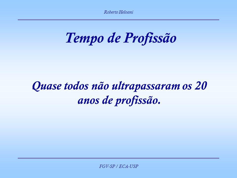 Roberto Heloani FGV-SP / ECA-USP Tempo de Profissão Quase todos não ultrapassaram os 20 anos de profissão.