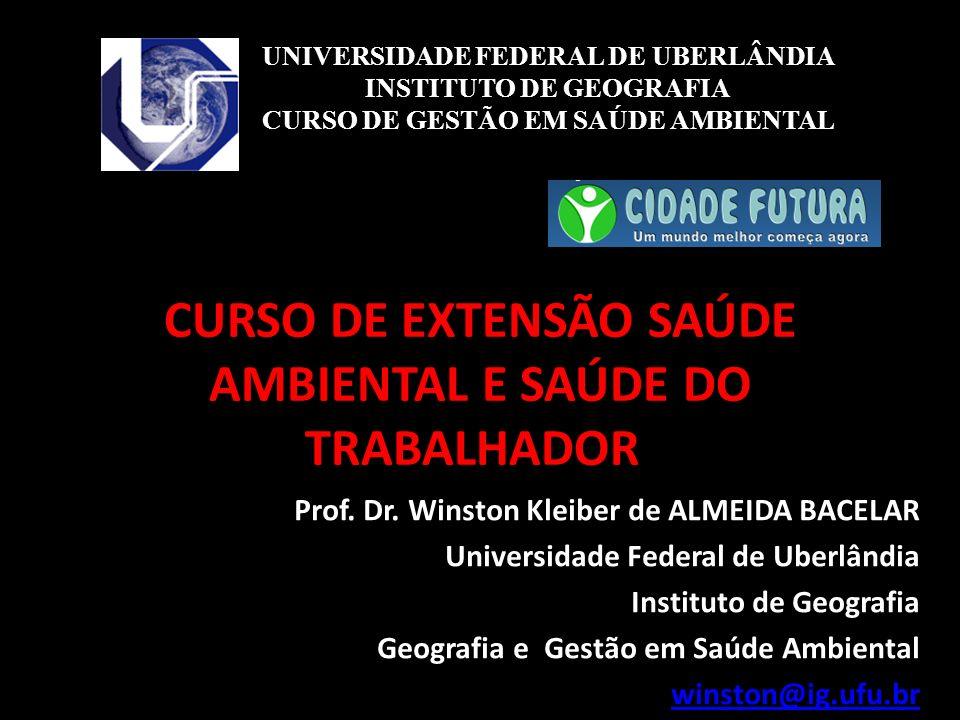 CURSO DE EXTENSÃO SAÚDE AMBIENTAL E SAÚDE DO TRABALHADOR Prof. Dr. Winston Kleiber de ALMEIDA BACELAR Universidade Federal de Uberlândia Instituto de