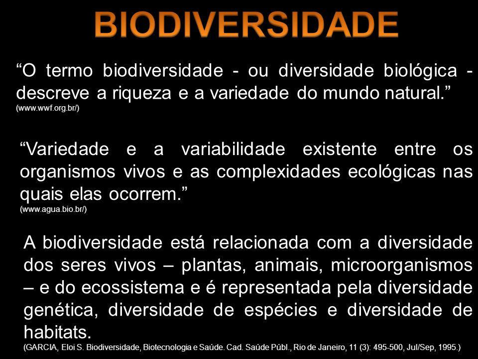O termo biodiversidade - ou diversidade biológica - descreve a riqueza e a variedade do mundo natural. (www.wwf.org.br/) Variedade e a variabilidade e