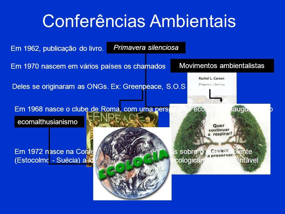 Conferências Ambientais Em 1962, publicação do livro. Primavera silenciosa Em 1970 nascem em vários países os chamados Movimentos ambientalistas Deles