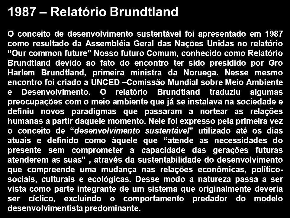 1987 – Relatório Brundtland O conceito de desenvolvimento sustentável foi apresentado em 1987 como resultado da Assembléia Geral das Nações Unidas no