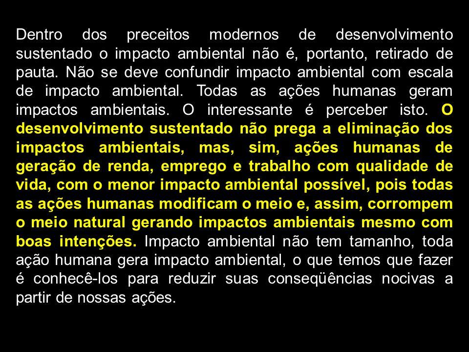 Dentro dos preceitos modernos de desenvolvimento sustentado o impacto ambiental não é, portanto, retirado de pauta. Não se deve confundir impacto ambi