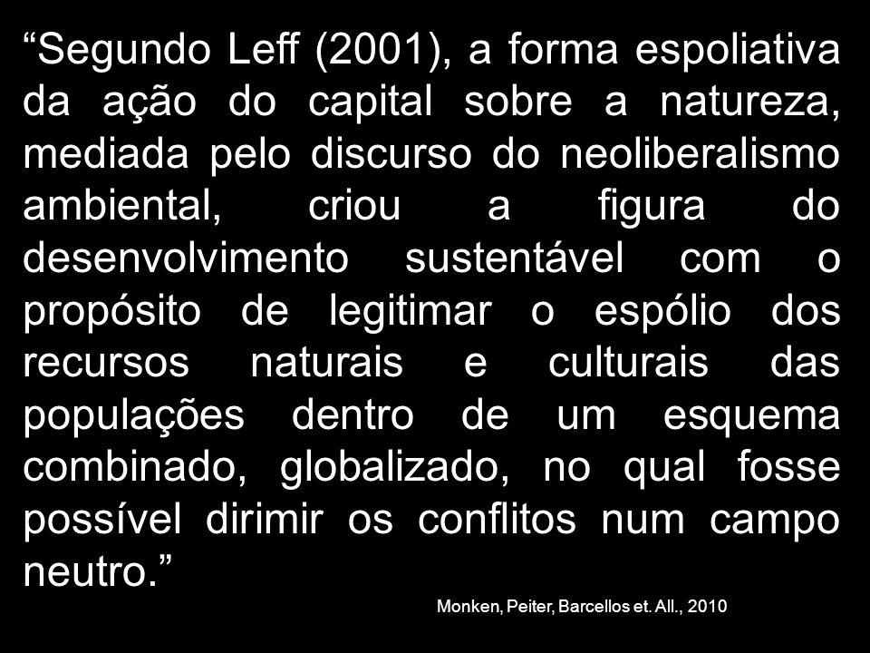 Segundo Leff (2001), a forma espoliativa da ação do capital sobre a natureza, mediada pelo discurso do neoliberalismo ambiental, criou a figura do des