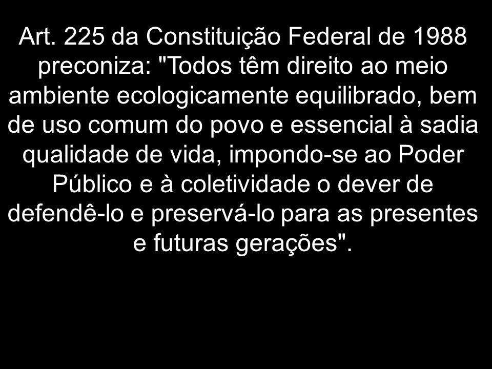 Art. 225 da Constituição Federal de 1988 preconiza: