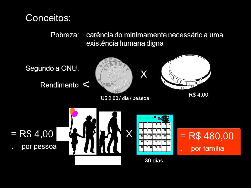Conceitos: Pobreza:carência do minimamente necessário a uma existência humana digna Segundo a ONU: Rendimento < U$ 2,00 / dia / pessoa = R$ 4,00. por