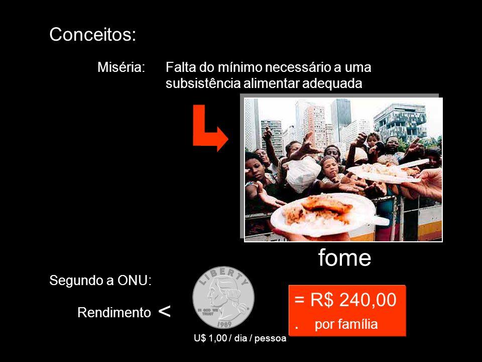 Conceitos: Miséria:Falta do mínimo necessário a uma subsistência alimentar adequada Segundo a ONU: Rendimento < U$ 1,00 / dia / pessoa = R$ 240,00. po