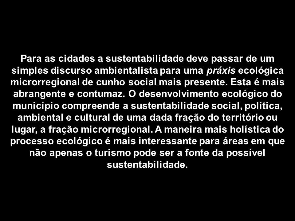 Para as cidades a sustentabilidade deve passar de um simples discurso ambientalista para uma práxis ecológica microrregional de cunho social mais pres