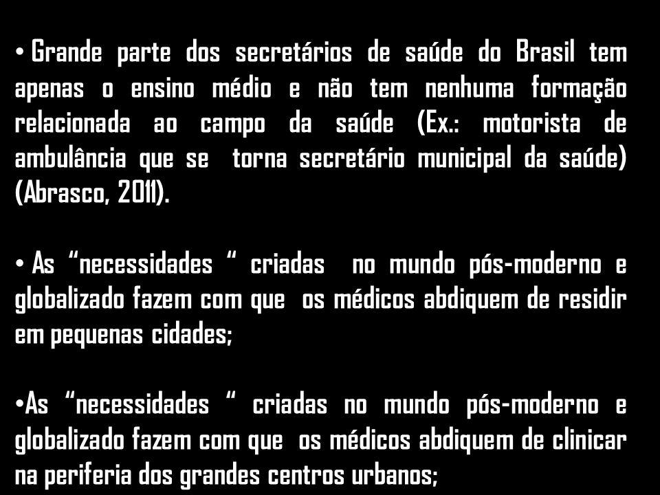 Grande parte dos secretários de saúde do Brasil tem apenas o ensino médio e não tem nenhuma formação relacionada ao campo da saúde (Ex.: motorista de