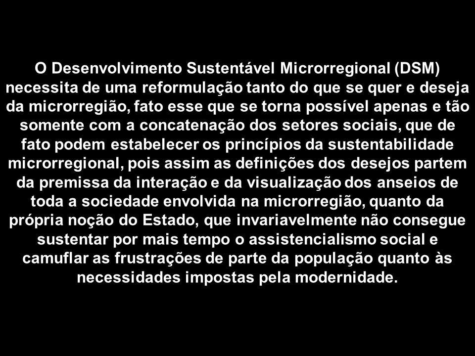 O Desenvolvimento Sustentável Microrregional (DSM) necessita de uma reformulação tanto do que se quer e deseja da microrregião, fato esse que se torna