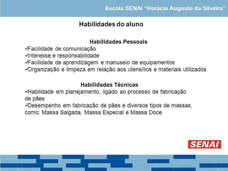 Escola SENAI Horácio Augusto da Silveira Habilidades do aluno Habilidades Pessoais Facilidade de comunicação Interesse e responsabilidade Facilidade d