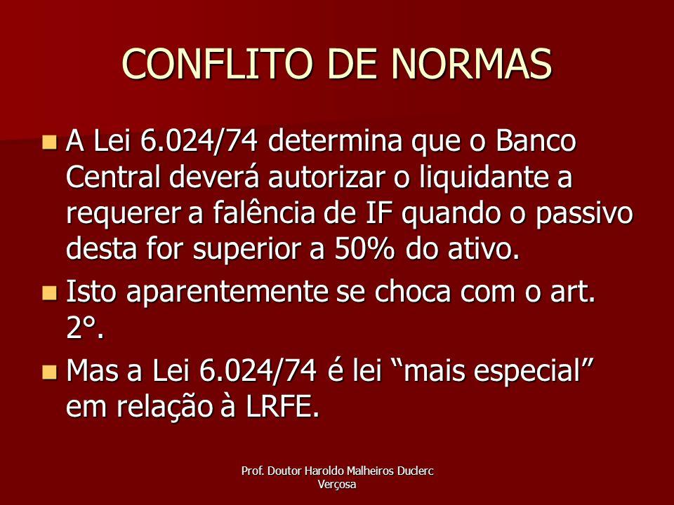 Prof. Doutor Haroldo Malheiros Duclerc Verçosa CONFLITO DE NORMAS A Lei 6.024/74 determina que o Banco Central deverá autorizar o liquidante a requere