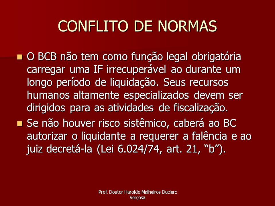 Prof. Doutor Haroldo Malheiros Duclerc Verçosa CONFLITO DE NORMAS O BCB não tem como função legal obrigatória carregar uma IF irrecuperável ao durante