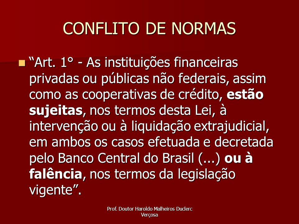 Prof. Doutor Haroldo Malheiros Duclerc Verçosa CONFLITO DE NORMAS Art. 1° - As instituições financeiras privadas ou públicas não federais, assim como