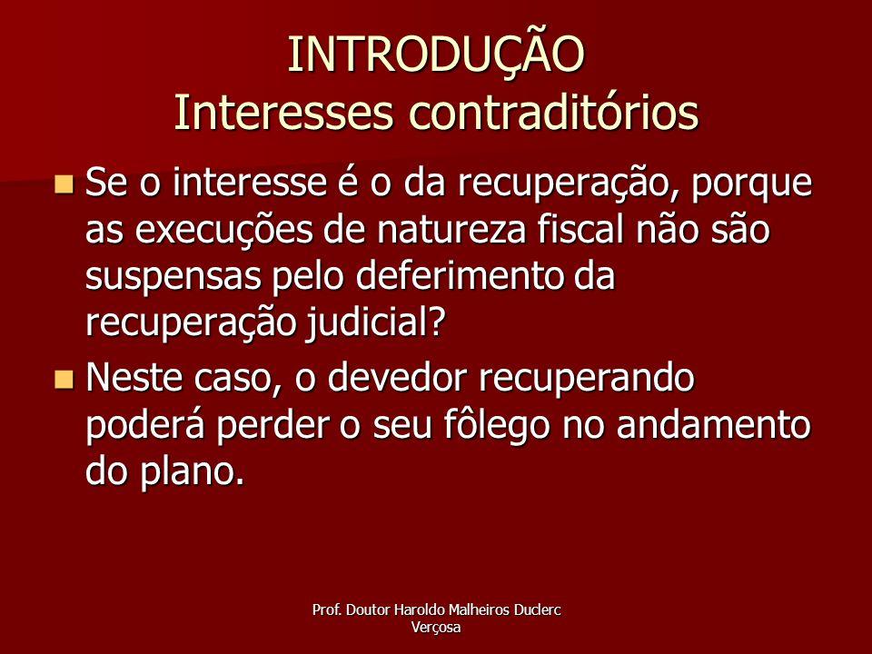 Prof. Doutor Haroldo Malheiros Duclerc Verçosa INTRODUÇÃO Interesses contraditórios Se o interesse é o da recuperação, porque as execuções de natureza