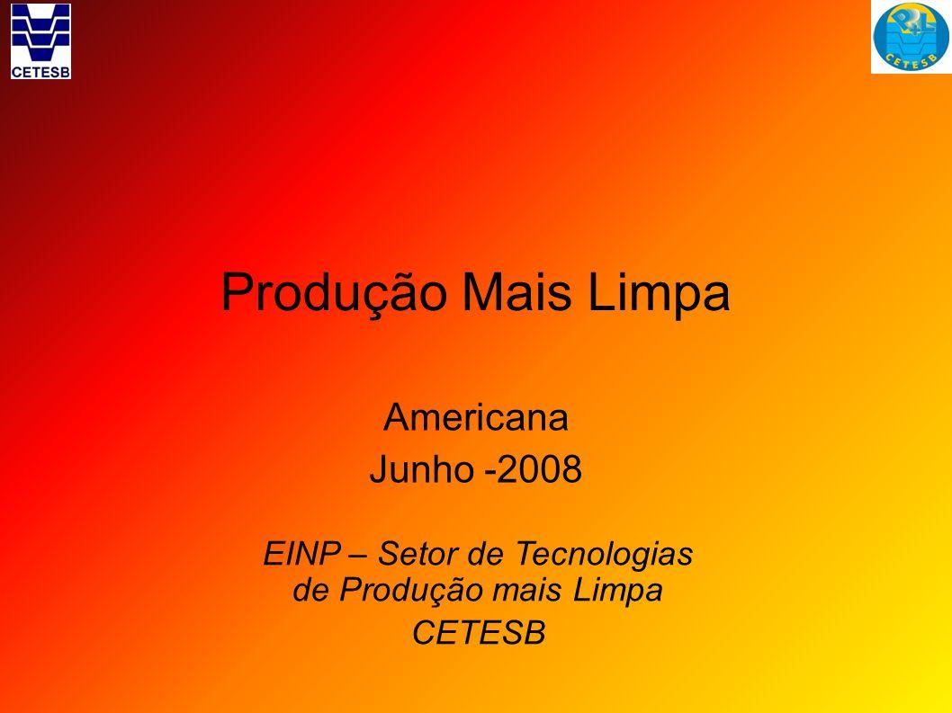 Produção Mais Limpa Americana Junho -2008 EINP – Setor de Tecnologias de Produção mais Limpa CETESB
