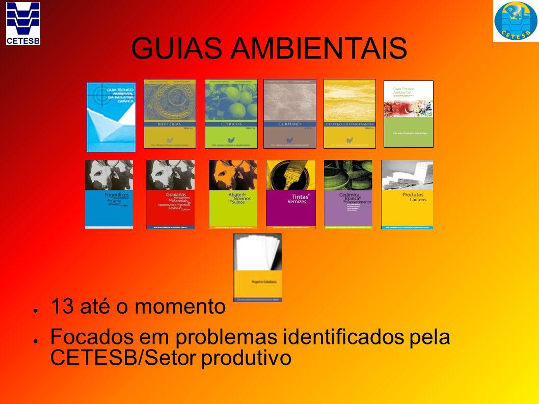 GUIAS AMBIENTAIS 13 até o momento Focados em problemas identificados pela CETESB/Setor produtivo