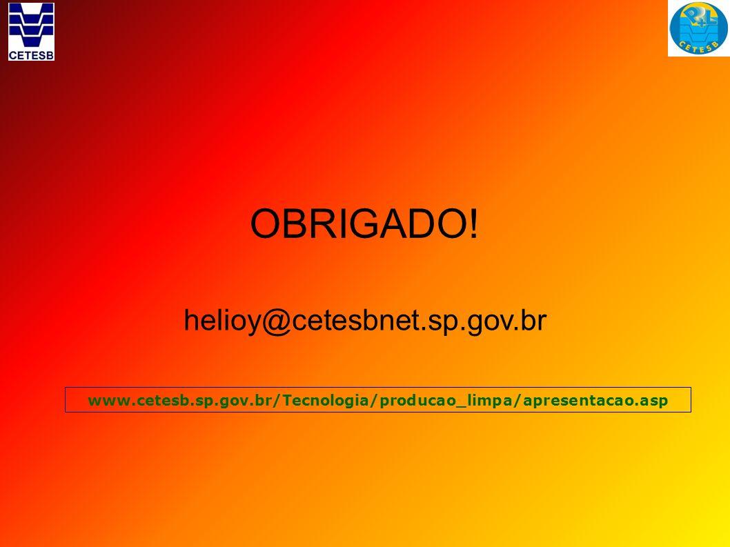 OBRIGADO! helioy@cetesbnet.sp.gov.br www.cetesb.sp.gov.br/Tecnologia/producao_limpa/apresentacao.asp