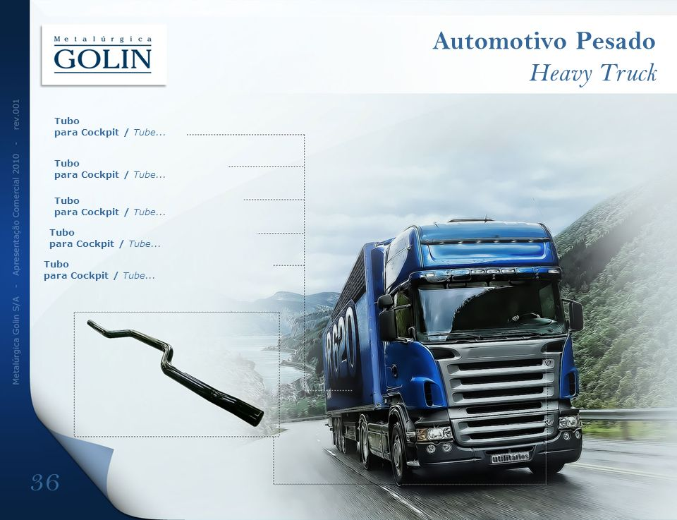 Automotivo Pesado Heavy Truck 36 Tubo para Cockpit / Tube...