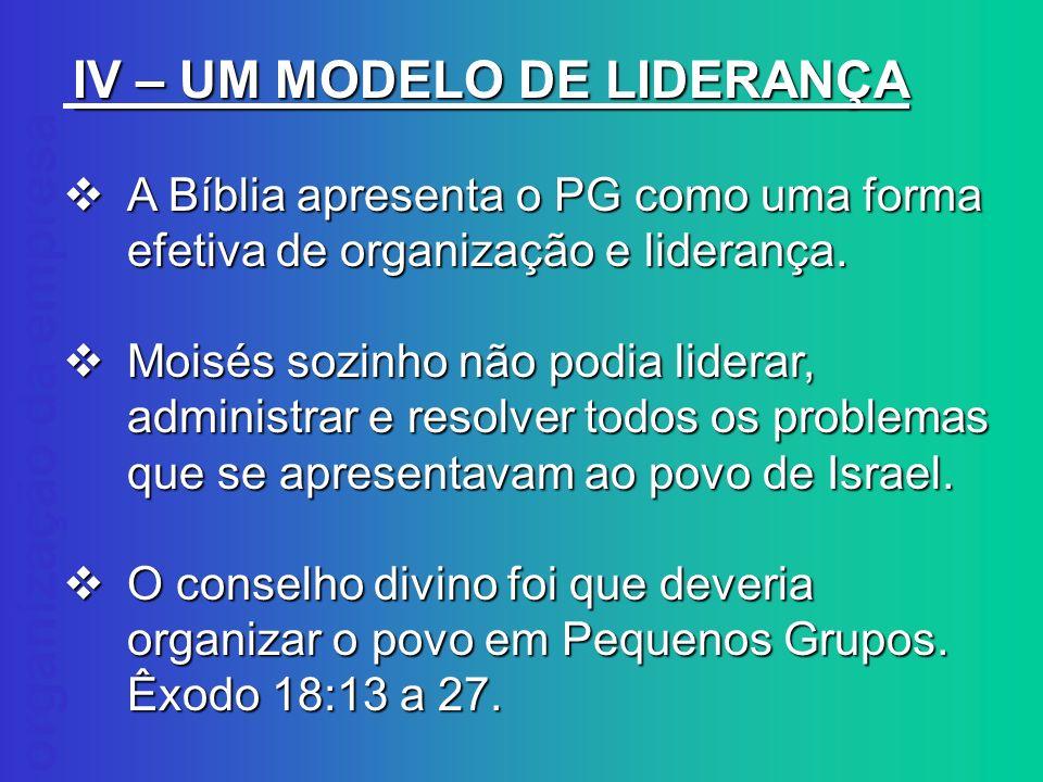 organização da empresa IV – UM MODELO DE LIDERANÇA A Bíblia apresenta o PG como uma forma efetiva de organização e liderança. A Bíblia apresenta o PG