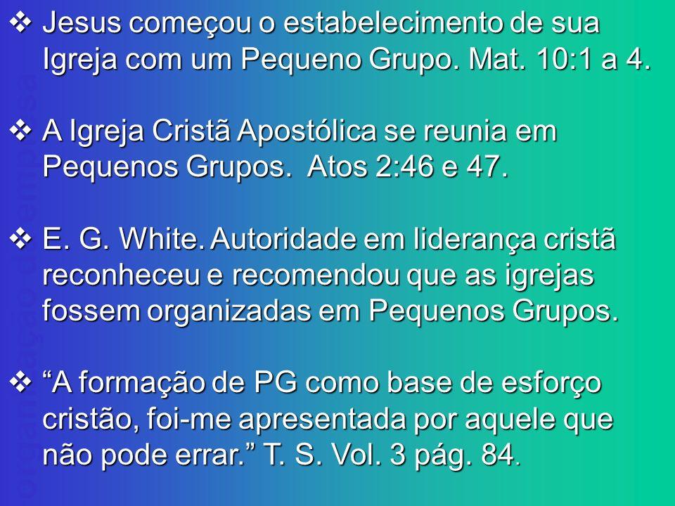 organização da empresa Jesus começou o estabelecimento de sua Igreja com um Pequeno Grupo. Mat. 10:1 a 4. Jesus começou o estabelecimento de sua Igrej