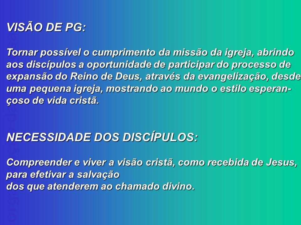 organização da empresa VISÃO DE PG: Tornar possível o cumprimento da missão da igreja, abrindo aos discípulos a oportunidade de participar do processo