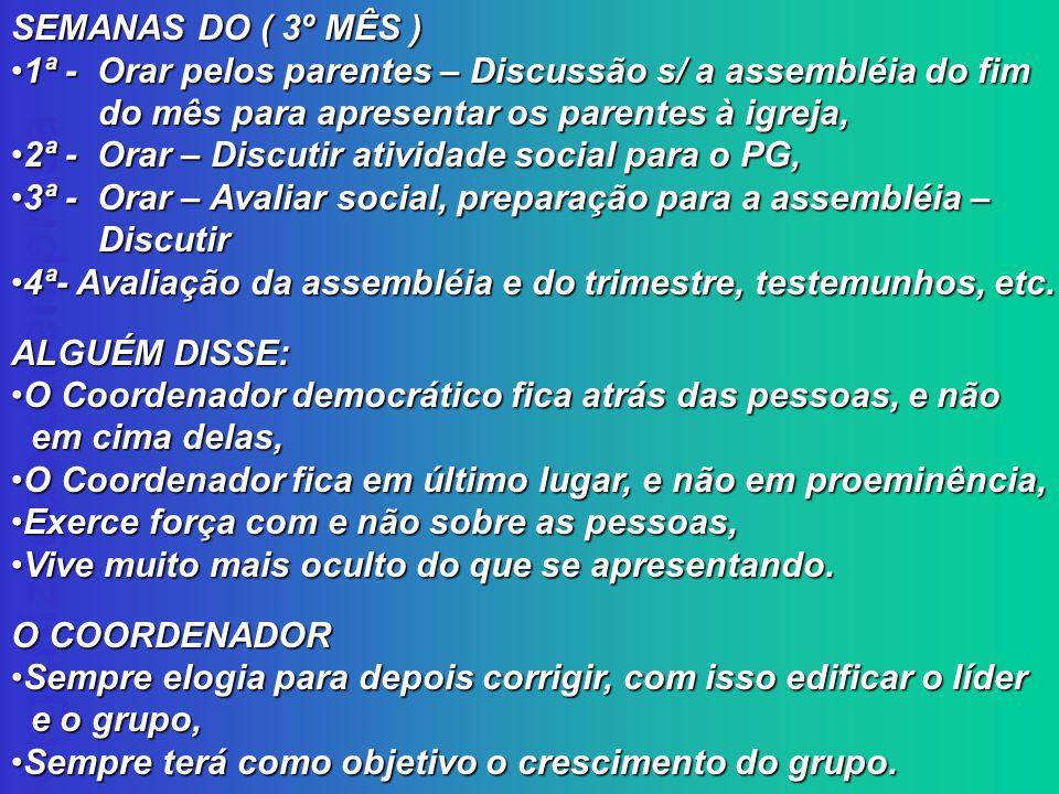 organização da empresa SEMANAS DO ( 3º MÊS ) 1ª - Orar pelos parentes – Discussão s/ a assembléia do fim 1ª - Orar pelos parentes – Discussão s/ a ass